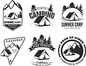 Set of vintage camping and outdoor adventure emblems and badges. Tent in forest or mountains. Camping equipment. Vector.