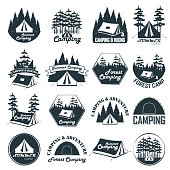 Set of vintage camping emblems, logos and badges. Camp tent in forest. Vector illustration