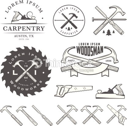 Set Of Vintage Carpentry Tool Elements And Labels stock