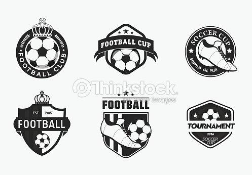 Conjunto De Vintage Color De Fútbol Fútbol Profesional De Logotipos ...