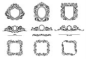 Set of Vintage Decorations Frame Elements. Flourishes Calligraphic Ornaments, Borders and Frames. Retro Style Collection for Boutique, Store, Shop, Restaurant, Logo. Identity design.