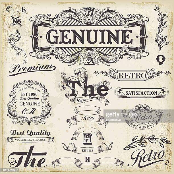 Ensemble d'éléments de design vintage pour texte placements.