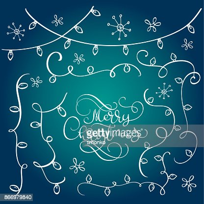 Set of vintage flourish doodle Garlands, Christmas decorations lights effects. vector design elements. Glowing lights for Xmas Holiday greeting card design. Merry Christmas calligraphy lettering text on blue background : Vector Art