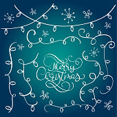 Set of vintage flourish doodle Garlands, Christmas decorations lights effects. vector design elements. Glowing lights for Xmas Holiday greeting card design. Merry Christmas calligraphy lettering text