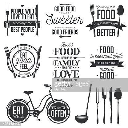 Set di vintage cibo relative citazione tipografici. Illustrazione vettoriale. : Arte vettoriale