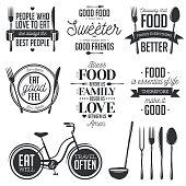 Set of vintage food related typographic quotes. Vector illustration. Kitchen printable design elements.