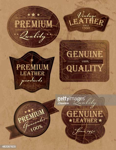Set of vintage genium and premium leather labels