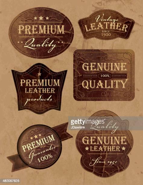 Ensemble de vintage et les étiquettes genium en cuir de qualité