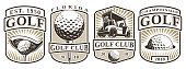 Set of vintage golf emblems on white background. Text is on the separate layer.