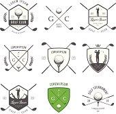 Set of vintage golf labels, badges and emblems.
