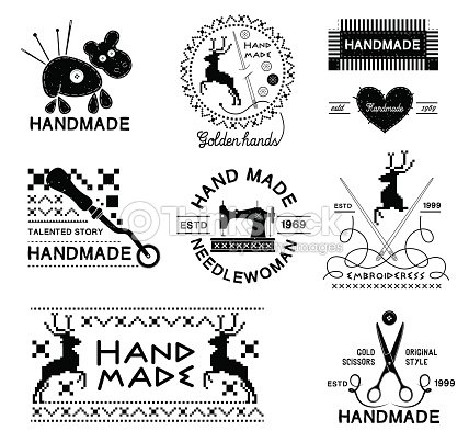 Set Of Vintage Hand Made And Tailor Logo stock vector