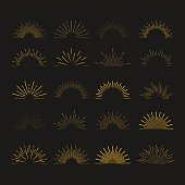 Set of vintage linear sunbursts. Hipster style. Vector illustration