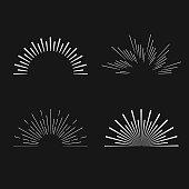 Set of vintage linear sunbursts. Hipster style. Vector illustration