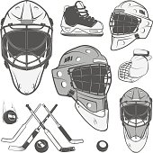 Set of vintage ice hockey elements for emblems black and white