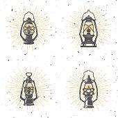 Set of vintage kerosene lamp illustration on white background. Design element for label, emblem, sign. Vector illustration