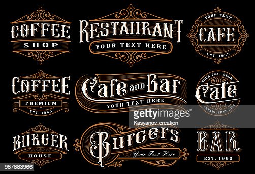 Set of vintage lettering illustration for the catering : Vector Art