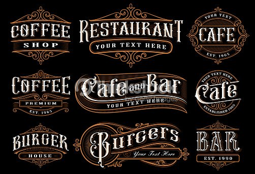 Set of vintage lettering illustration for the catering : stock vector