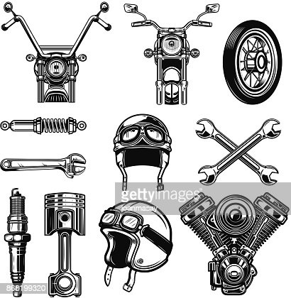 Set of vintage motorcycle design elements isolated on white background. : stock vector