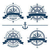 Set of vintage nautical design emblems and elements isolated on white background. Vector set of logo illustrations.