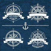 Set of vintage nautical design emblems and elements. Vector set of  illustrations.