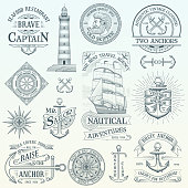 Set of vintage nautical labels and badges. Hand drawn vector design elements. Highly detailed illustration.