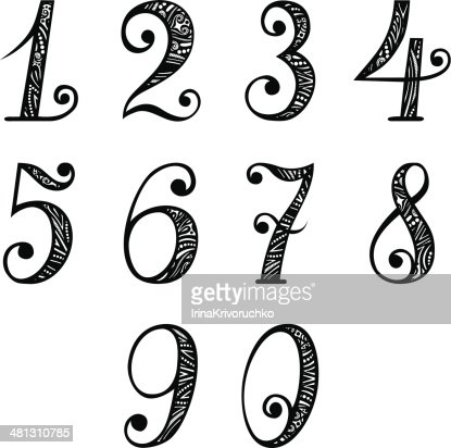Set Of Vintage Numbers Vector Art | Getty Images