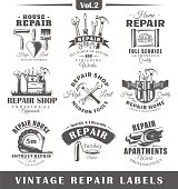 Set of vintage repair labels. Vol.2.  Posters, stamps, banners and design elements. Vector illustration