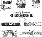 Set of vintage retro handmade badges, labels and logo elements, retro symbols for local sewing shop, knit club, handmade artist or knitwear company. Template logo. Vector.