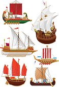 Vector illustration set of vintage sailing ships. phoenician ship - bireme, galleon, galley, chinese ship - junk, viking ship - drakkar. isolated on white.