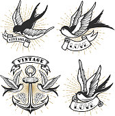 Set of vintage style tattoo with swallow birds, anchor isolated on white background. Design element for label, emblem, sign. Vector illustration.