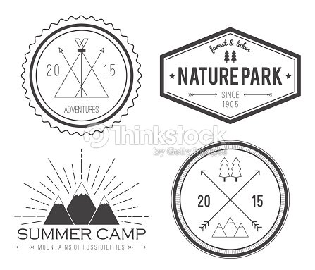 Set Of Vintage Summer Camp Badges And Logos stock vector