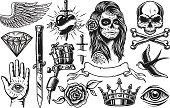 Set of vintage black and white tattoo elements isolated on white background
