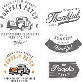 Set of vintage Thanksgiving Day emblems, signs and design elements.