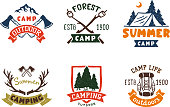 Set of vintage woods camp badges and travel  hand drawn emblems nature mountain camp outdoor vector illustration. Park recreation exploration graphic sticker.