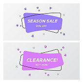 Set of flat geometric sale banner in trendy concept. Modern curved rectangle sign template with market clearance title in violet colors. Vector illustration with sale tags for marketing print.