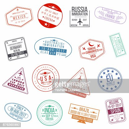 Set of visa passport stamps. International arrivals sign rubber stamps : Vector Art