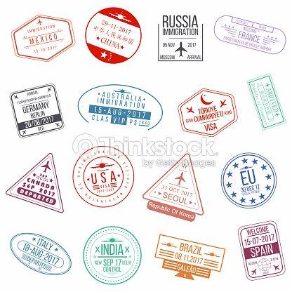 Set of visa passport stamps. International arrivals sign rubber stamps : stock vector