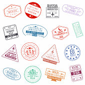 Set of visa passport stamps. International arrivals sign rubber stamps. Vector