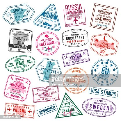Set of visa stamps for passports. International and immigration office stamps. Arrival and departure visa stamps to Europe - Spain, Germany, Portugal, Turkey, Poland, Russia, United Kingdom etc. : arte vettoriale
