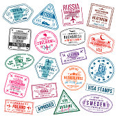 Set of visa stamps for passports. International and immigration office stamps. Arrival and departure visa stamps to Europe - Spain, Germany, Portugal, Turkey, Poland, Russia, United Kingdom etc. Vecto
