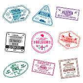 Set of visa stamps for passports. International and immigration office stamps. Arrival and departure visa stamps to Europe - Spain, Greece, Germany, Turkey, Italy, France, United kingdom etc. Vector