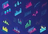 Set of vivid colorful infographic elements for ui design, presentation graphics, data statistics. 3d isometric bright light diagram vector illustration