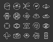 set of vr 360 degree line icons