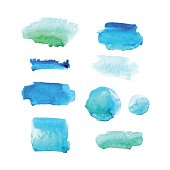 Set of watercolor hand drawn brush strokes in blue and green colors isolated on white background. Vector elements .
