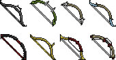 Set of weapon icons in perfect pixel art style. Fantasy bow for an arrow and an elf. Vector clip art with easy editable colors