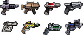 Set of weapon icons in perfect pixel art style. Rifle, pistol, assault rifle, assault rifle, blaster, laser and other fantastic weapons. For your games, retro, business design. Vector clip art