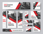 set of web banners of different sizes with diagonal red elements and a place for photos. Vector Templates for Web