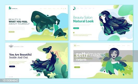 Set of web page design templates for beauty, spa, wellness, natural products, cosmetics, body care, healthy life : Vector Art
