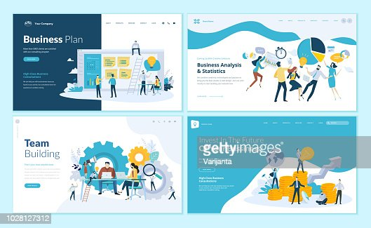 Set of web page design templates for business plan, analysis and statistics, team building, consulting : stock vector