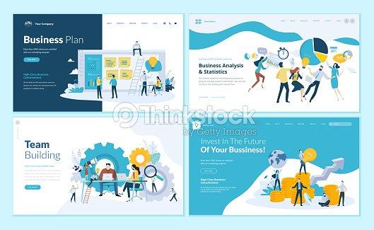 Conjunto de plantillas de diseño de página web para plan de negocio, análisis y estadísticas, equipo de construcción, consultoría : arte vectorial